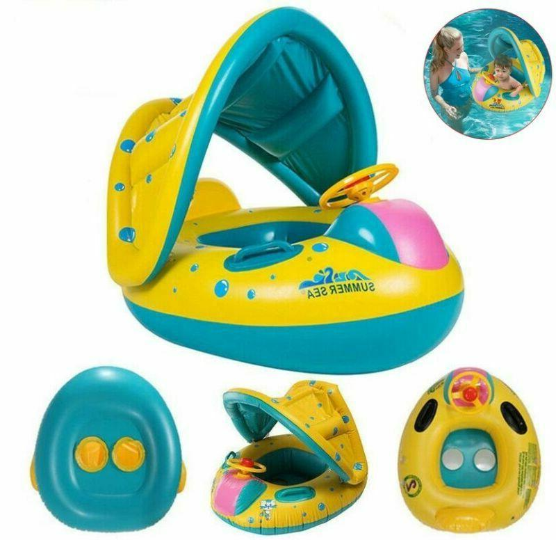 blue inflatable baby swim ring toddler float