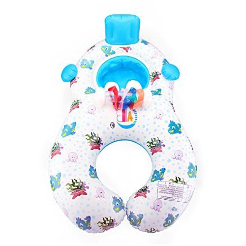 Dual Baby Inflatable Baby Float Canopy Storage