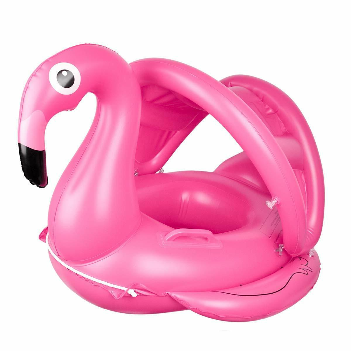 flamingo baby pool float with canopy
