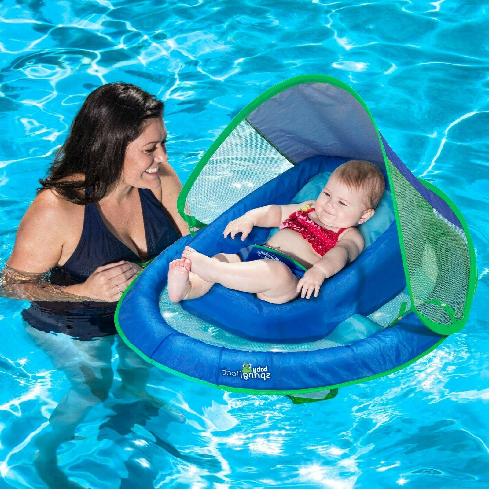 infant baby spring float canopy blue swimming