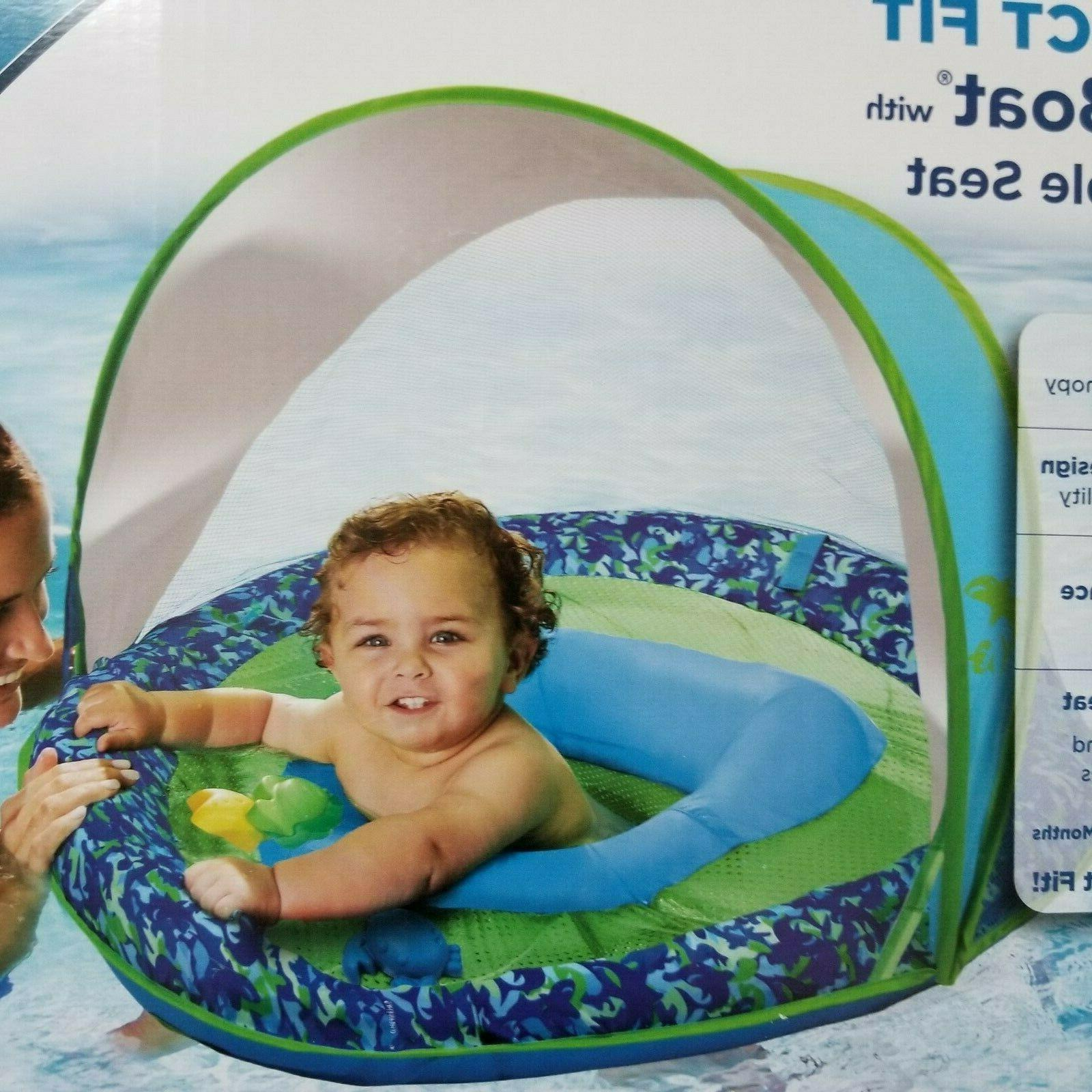 Inflatable Baby Boat Sunshade Pool Floating Water