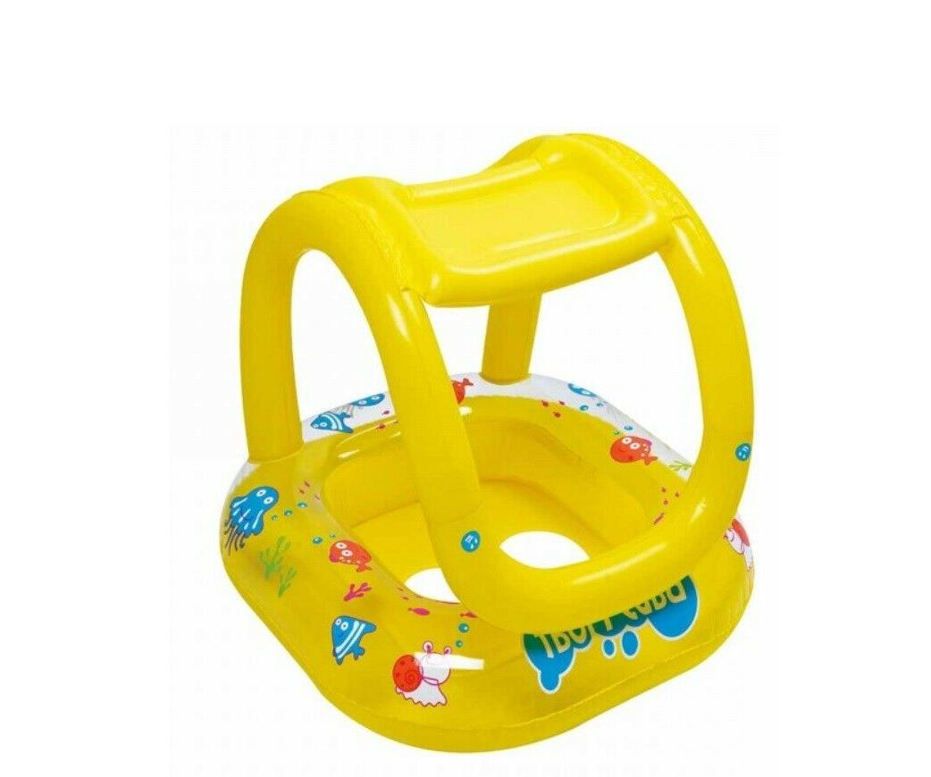 Inflatable Baby Boat with Canopy Pool Float for Kids Swimmin
