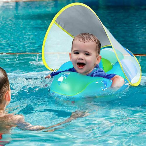 Inflatable Baby Float Sunshade Swimming Boat Seat With Sun C