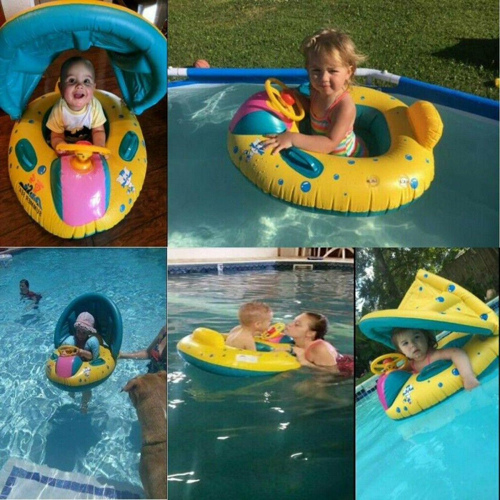 Adjustable Baby Seat Boat Ring Sunshade Swim Fun USA