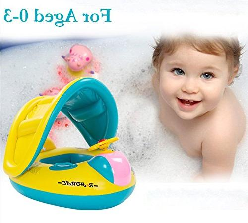R • Baby Ring with Sun Canopy for the Age 6-48 Months with Water-polo Fluorescent Wristband