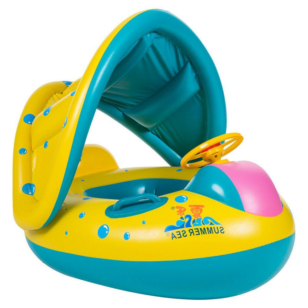 Inflatable Sunshade Swimming Ring Float Boat 4S