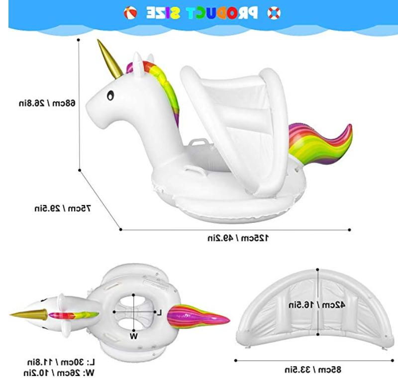 Inflatable Baby Float Swimming Ring Seat with Sun Canopy