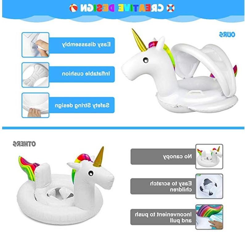 Inflatable Unicorn Baby Pool Float Ring Seat Boat Canopy