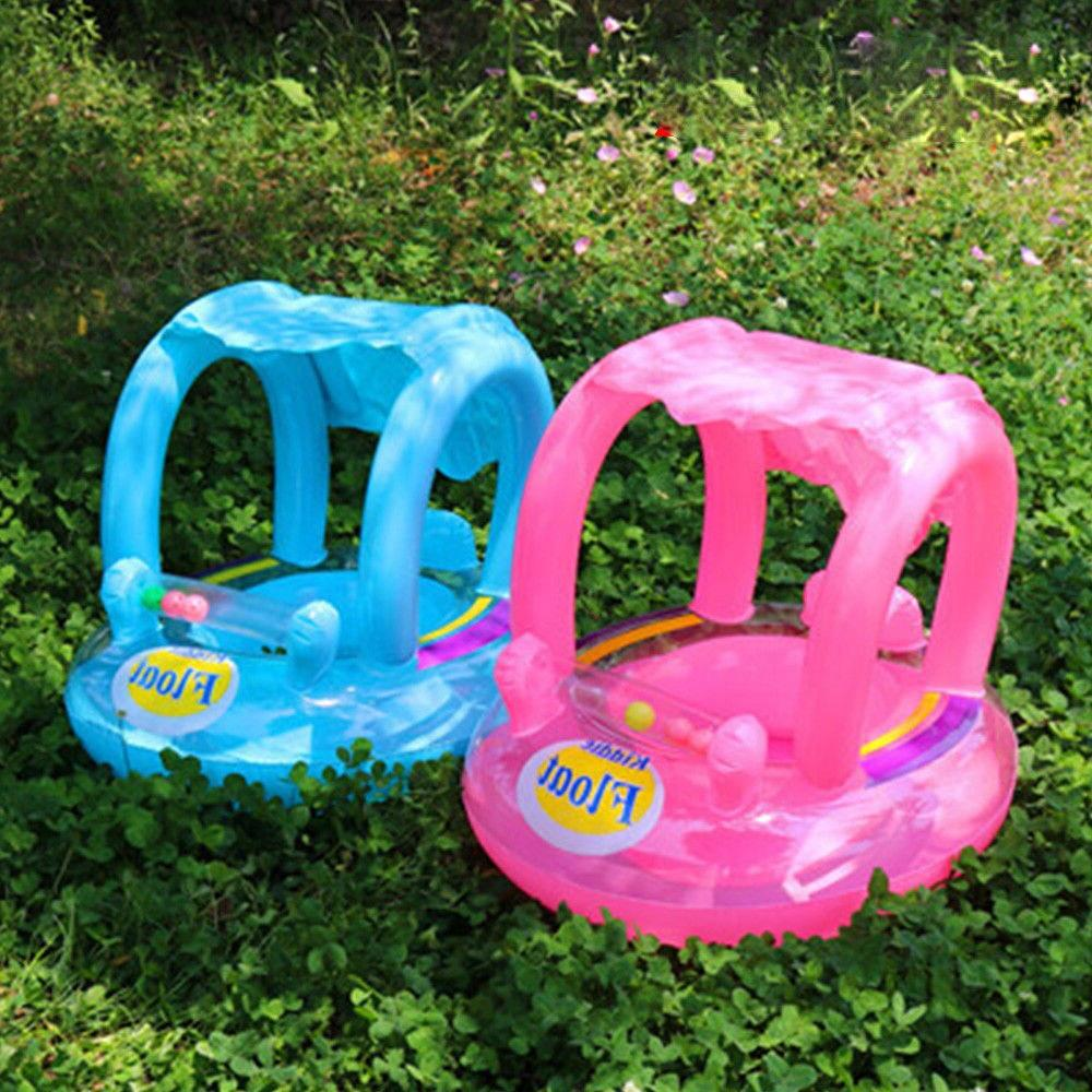 New Arrival <font><b>Baby</b></font> Ring Inflatable Toddler Swim Kid Seat <font><b>with</b></font> <font><b>Canopy</b></font>