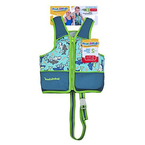 SwimSchool Swim Trainer Vest, Adjustable Safety Easy on Off, Small/Medium, Up to 33 Blue