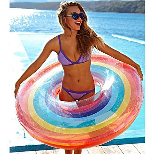 rainbow swim ring inflatable pool