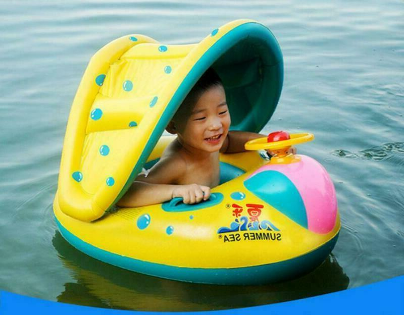 Inflatable Toddler Baby Ring Kid Canopy Swimming