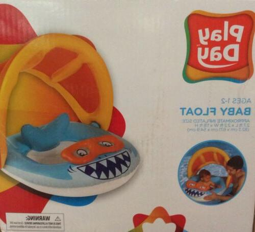 shark baby float with sun canopy inflatable