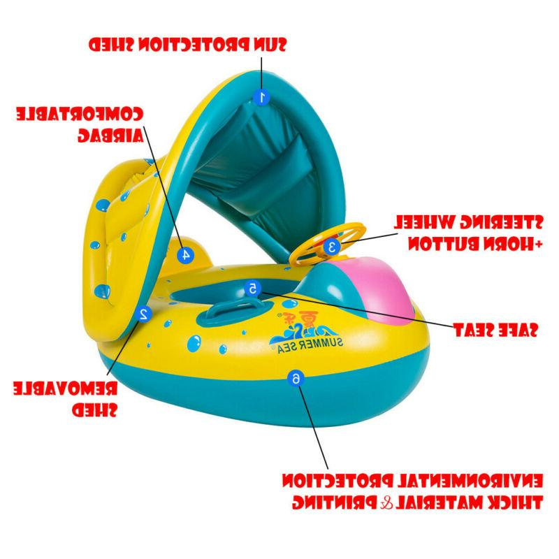Swimming Inflatable Float Seat Water Toy Sunshade