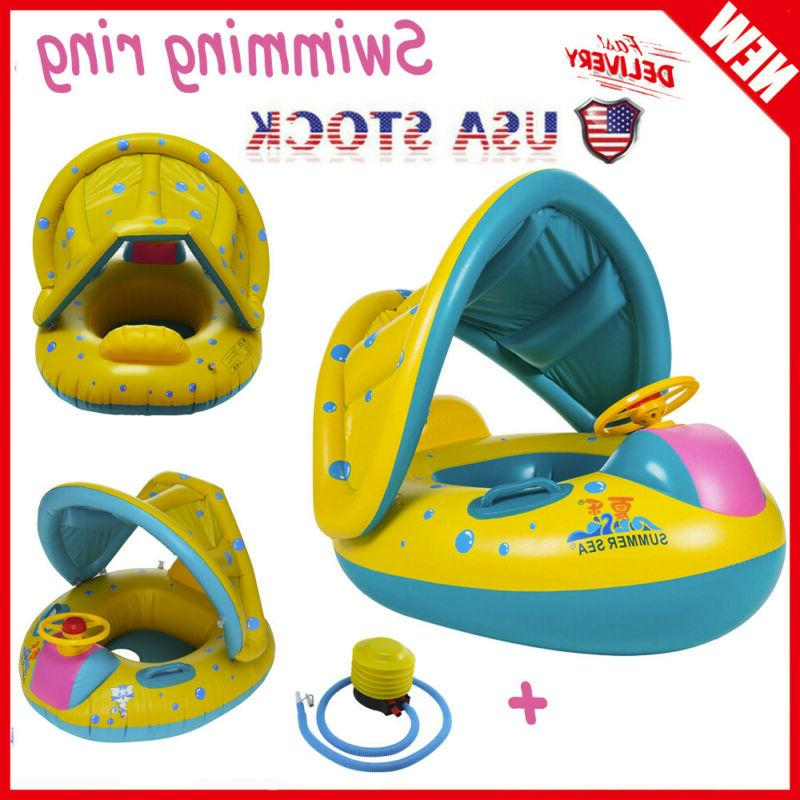 swimming ring inflatable baby float sunshade swimming