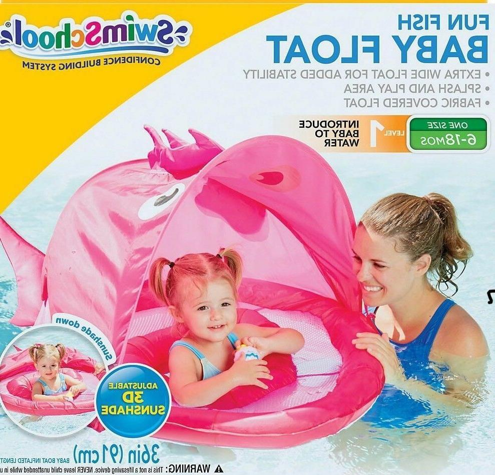 Swimschool Baby Fun-Fish Swimming Pool Sunshade Boat Pink 6-18 mos.