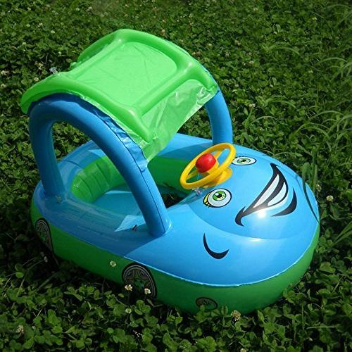 TINTON Toddler Baby Infant Swimming Cartoon Boat with & Canopy for Months 1 pcs