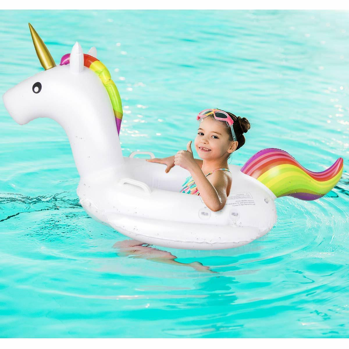 Inflatable Baby Swimming Ring Boat Canopy