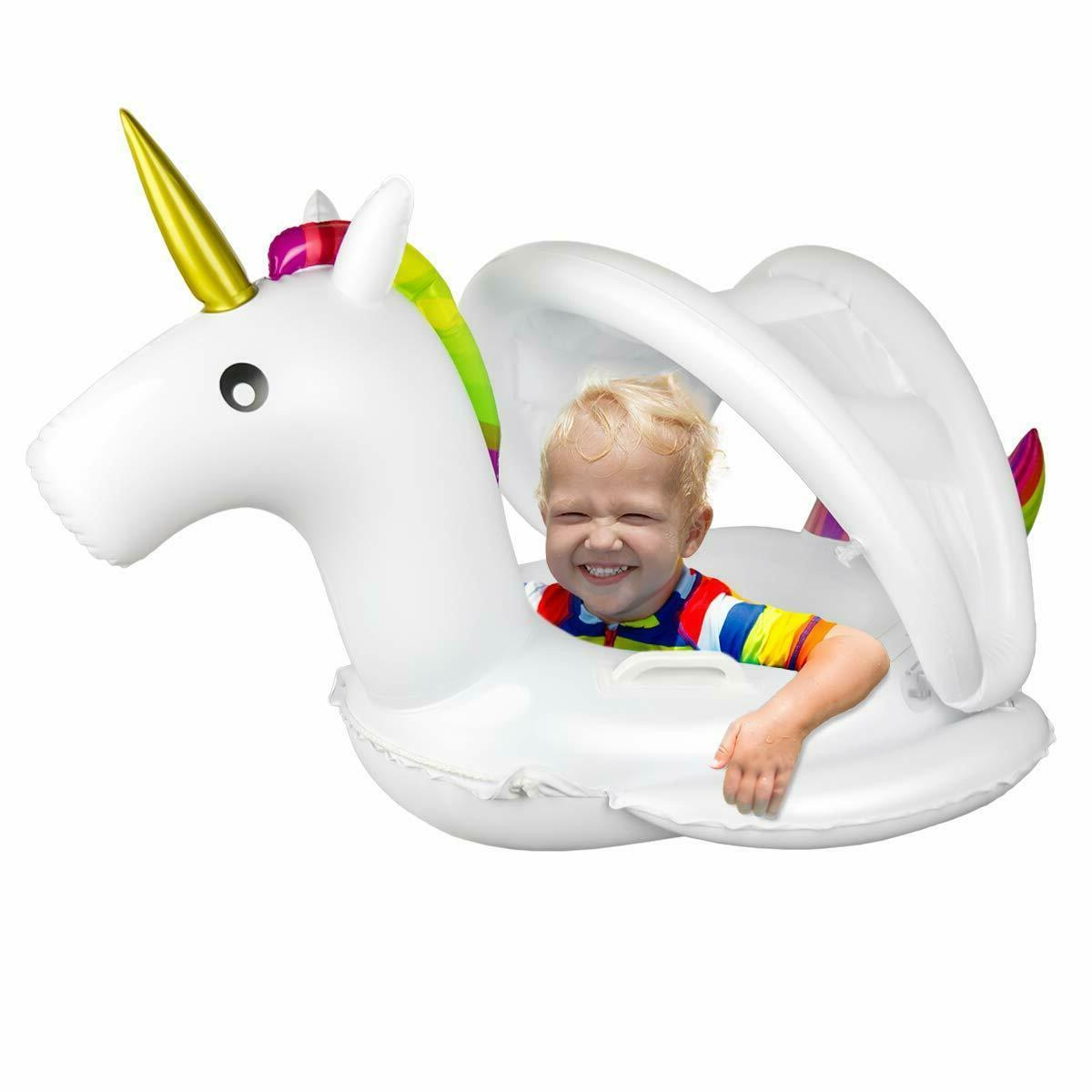 Unicorn Baby with Inflatable Swimming Pool Floaties