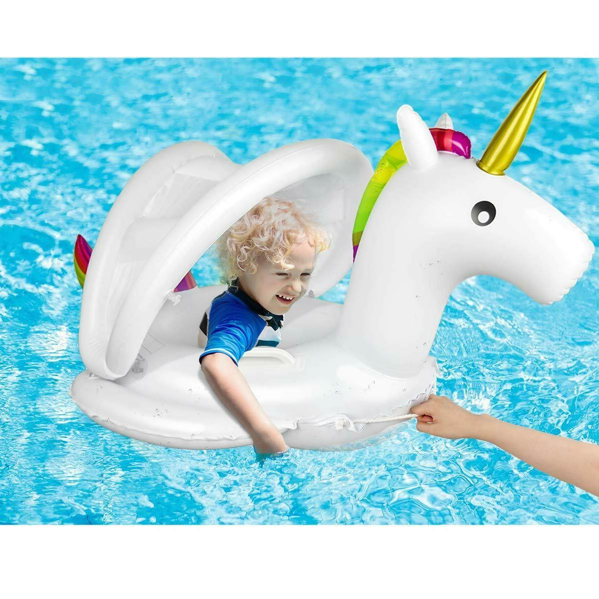unicorn baby pool float with canopy inflatable
