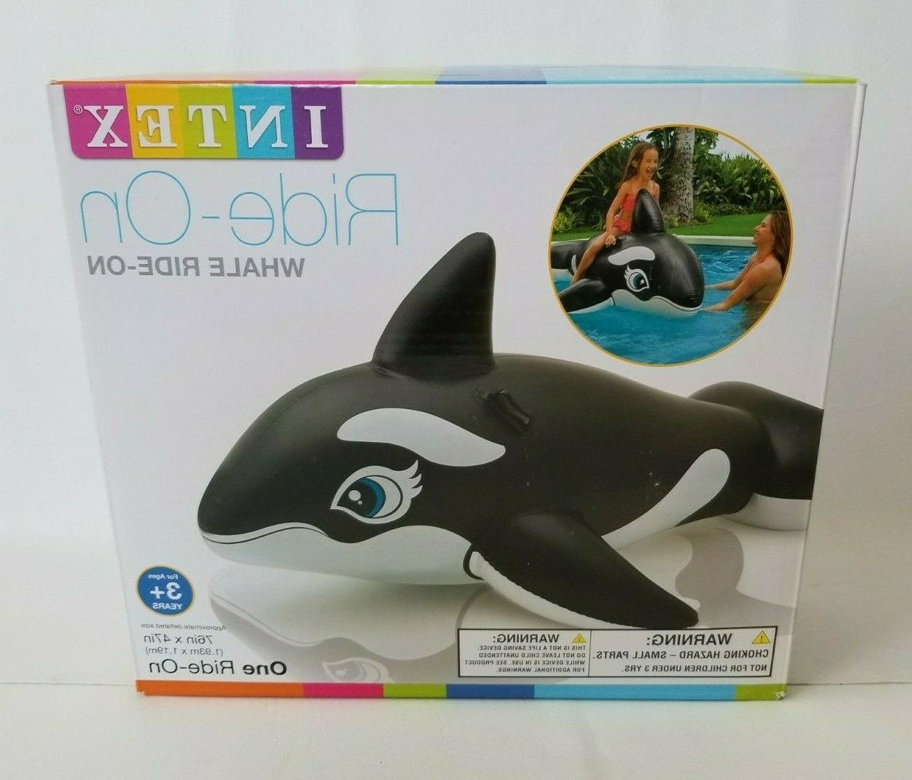 whale inflatable ride on pool toy handles