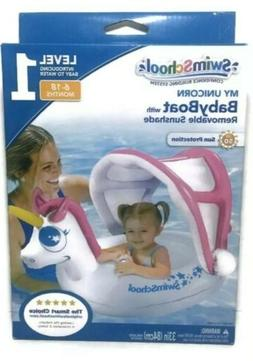 SwimSchool My Unicorn Baby Boat w Removable Sunshade 6-18 Mo