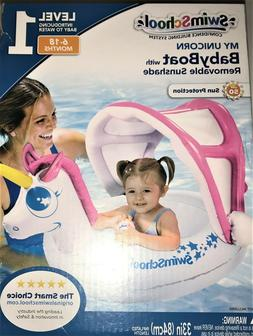 NEW SWIMSCHOOL Unicorn BabyBoat Infant SWIM Float Removable