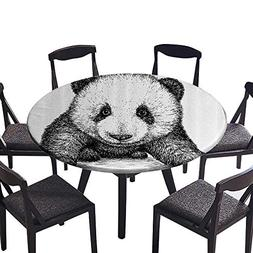 Round Polyester Tablecloth Table Cover Baby Panda ar Sketch