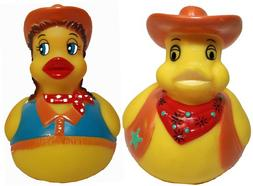 Rubber Ducks Cowgirl N Cowboy Set of 2, Waddlers Brand Rubbe