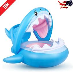 Shark Inflatable Swimming Pool Seat Floats With Canopy For B