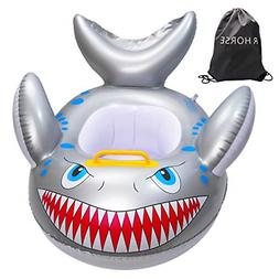 Shark Shaped Baby Swimming Pool Float Cartoon Inflatable Fis