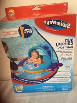 SwimWays Sun Canopy Baby Boat Float 50+ UPF 9-24 M Swim Step