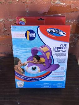 Swimways Sun Canopy Baby Float Purple Whale 9-24 Months Swim