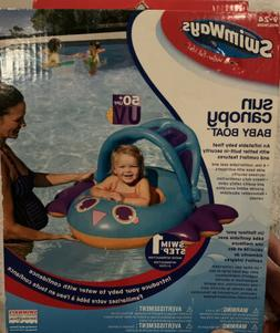 Sun Canopy Baby Float by Swimways in Blue Butterfly Boat Sun
