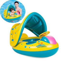EncoyKid Baby Swimming Ring, Inflatable Baby Float Sunshade
