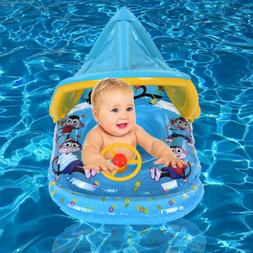 Swimming Ring With Sun Canopy Inflatable Baby Float Sunshade