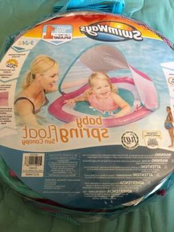 SwimWay Baby Spring Float with Sun Canopy Pink/Blue Fish 9-2
