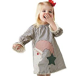 Charberry Toddler Fringed Santa Print Dress Kids Baby Girls