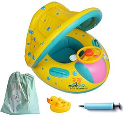 Toddler Pool Accessories Inflatable Float Ring Canopy Duck T
