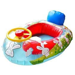Wheel Horn Kids Swim Ring Seat Float Baby Boat Inflatable Sw